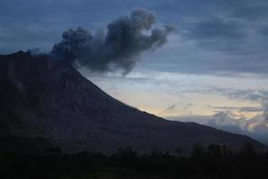 Sinabung volcanic eruption from Tiga Pancur Village, Indonesia