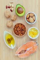 Healthy food on a wood background photo