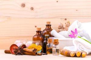 Natural spa items including essential oils
