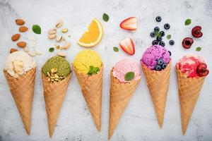 Fruit and nuts with ice cream photo