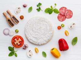 ingredientes de pizza laicos planos