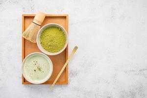 Top view of matcha tea
