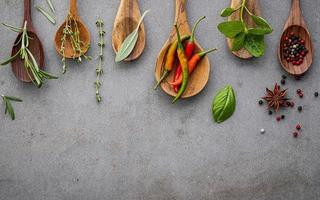 Spices and herbs in wooden spoons on concrete photo