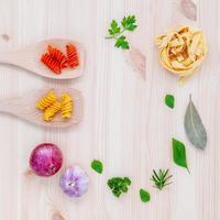 Pasta concept on wood photo