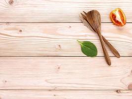Wooden utensils on wood photo