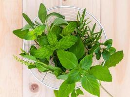 Herbs in a glass bowl photo