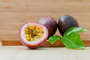 Fresh passion fruit on a table