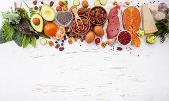 Colorful fresh ingredients with copy space photo