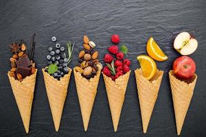 Fruits and nuts with ice cream cones
