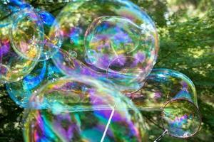 Huge soap bubbles outside