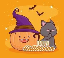 happy halloween, cute pumpkin with a witch hat and cat vector