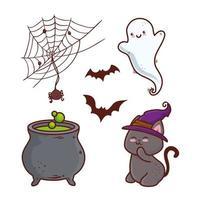 feliz halloween conjunto de iconos vector