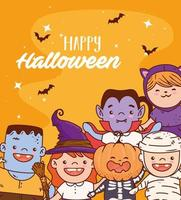 Halloween kids in costumes vector