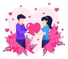 un hombre está expresando amor dándole un símbolo de corazón a una mujer vector