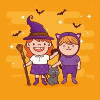 cute girls in costumes for halloween celebration vector