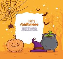 happy halloween banner with cauldron, pumpkin, hat, spider, and bats flying vector