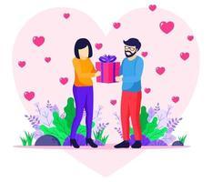 hombre amoroso dando un regalo a la mujer vector