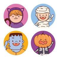Halloween kids in costumes set vector