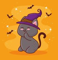 Halloween with cute cat wearing a witch hat and bats flying vector