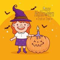 cute girl in a witch costume for happy halloween banner vector