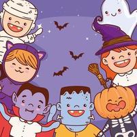 Halloween kids in costumes celebration vector