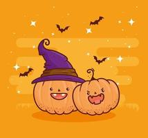 Halloween cute pumpkins with witch hat and bats flying vector