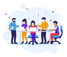 Business teamwork concept, people working in table meeting vector