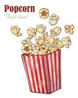 Hand drawn popcorn design vector