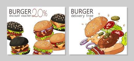 Burger Voucher Set vector