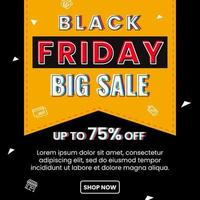 Black friday big sale poster template vector