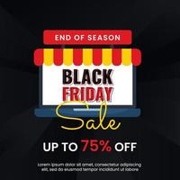 Black friday banner sale with laptop vector