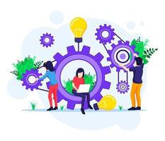 Team work concept, people putting together a series of cogs vector