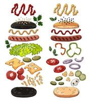 Hotdogs realistic vector