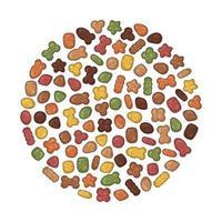 Dry pet food in sphere