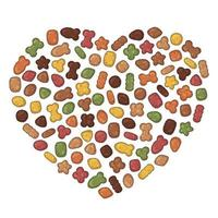 Dry pet food in heart shapes vector