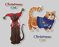 Christmas pets in clothes set vector