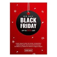 Black friday flyer template with tag vector