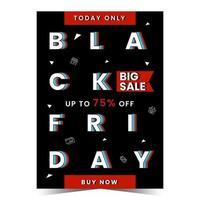 Black friday flyer template in flat design vector