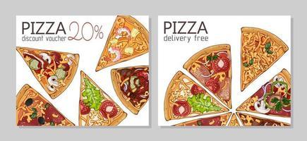 Set of Pizza Discount vouchers vector