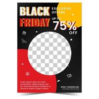 Flat design black friday flyer template with photo vector