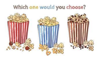 Vector snacks nut popcorn, cheese popcorn, chocolate popcorn set