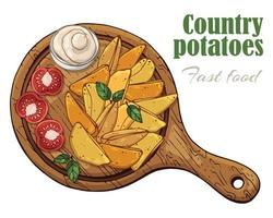 Vector illustrations on the fast food theme country potatoes on a board