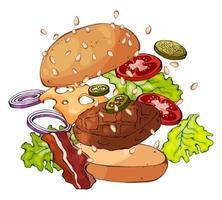 diseño de hamburguesa en expansión vector