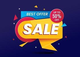Banner de venta de mejor oferta para compras en línea. vector