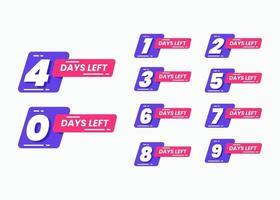 Set of number days left for promotional banner vector