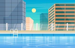 Hotel Outdoor Swimming Pool with City View vector