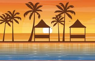 Hotel Outdoor Swimming Pool with View of Palm Trees vector