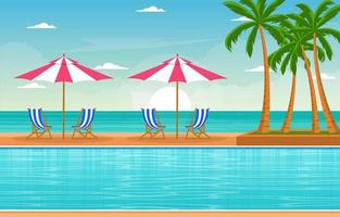 Hotel Outdoor Swimming Pool with View of Palm Trees and Umbrellas vector