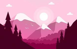 Sunrise Over Mountain Forest Landscape Illustration vector