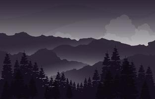 Evening Calm in Mountain Forest Landscape Illustration vector